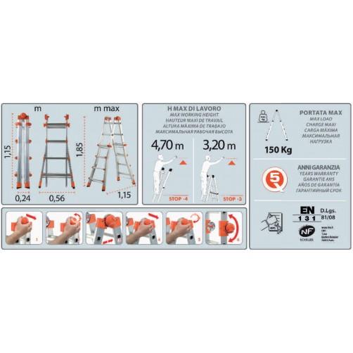 Телескопична стълба 4+4 Gierre