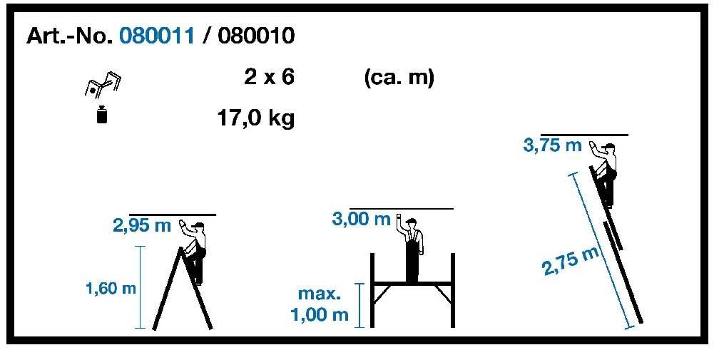 Техническа информация комбинирано скеле-стълба 2х6 KRAUSE