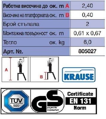 Монтажна алуминиева степенка STABILO 2 стъпала Krause технически характеристики