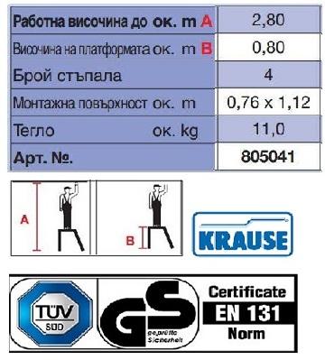 Монтажна алуминиева степенка STABILO 4 стъпала Krause технически характеристики