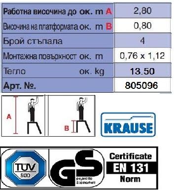 Подвижна степенка с парапет и 4 стъпала Krause - технически характеристики