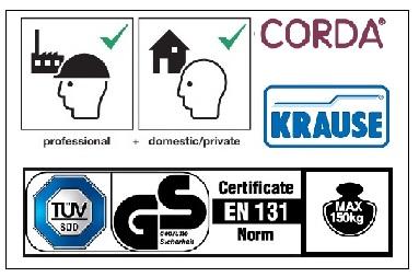 Домакинска стълба Corda 3+1 Krause сертификати