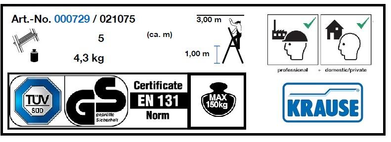 Домакинска алуминиева стълба Corda 4+1 Krause технически характеристики и сертификати