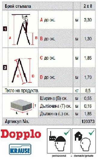 Домакинска стълба Dopplo 2x8 Krause описание и сертификати