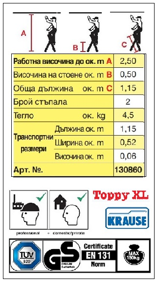 Домакинска стълба Toppy XL с две гумирани стъпала Krause описание и сертификати