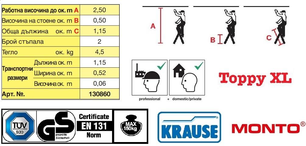 Домакинска алуминиева стълба Toppy XL 2 стъпала Krause технически характеристики и сертификати
