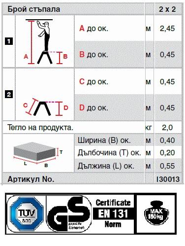Домакинска стълба Treppy 2x2 Krause описание и сертификати