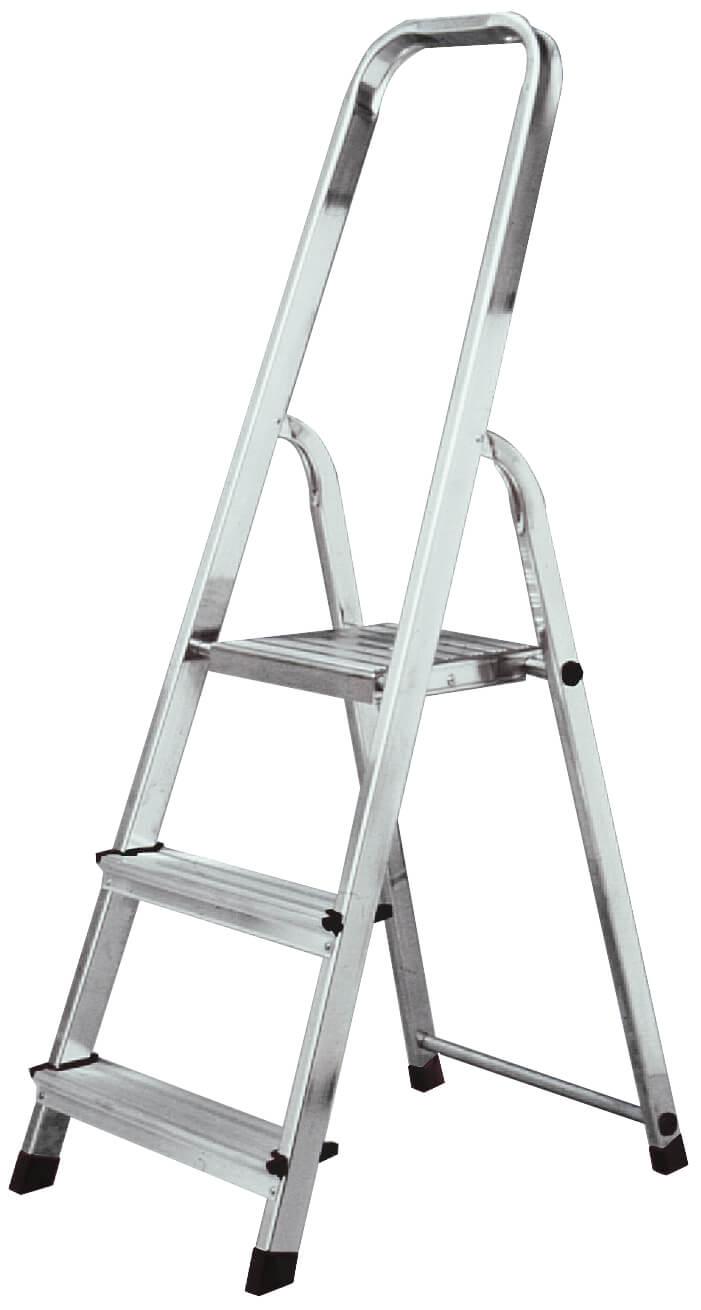 Домакинска стълба от алуминий с широко стъпало и платформа Krause