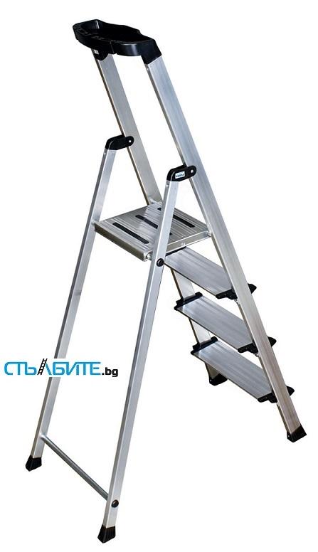 Домакинска стълба от алуминий с широко стъпало Krause