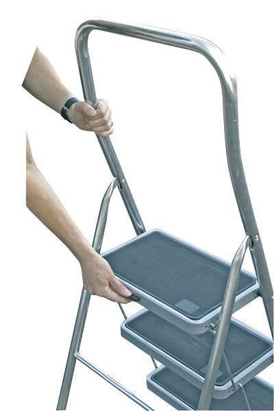 Домакинска стълба с широко гумирано стъпало Krause