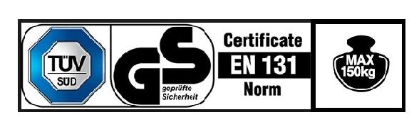Сертификати и товароносимост на сгъваеми стълби от алуминий лого