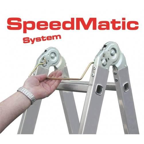 Сгъваема алуминиева стълба патентована система SpeedMatic на пантите KRAUSE