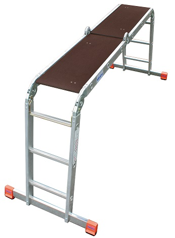 Сгъваема стълба от алуминий в позиция скеле с поставен борд KRAUSE