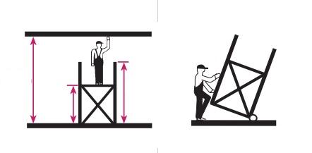 Стълби Krauze работна височина графика