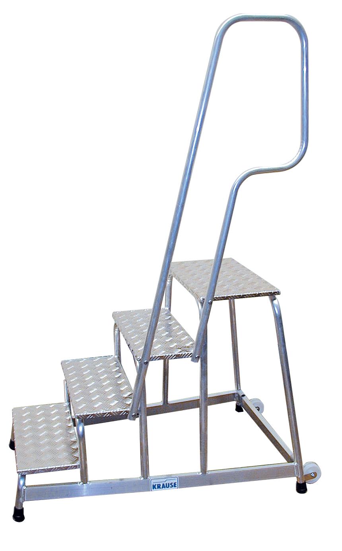 Степенка с четири рифеловани стъпала и парапет от алуминий Krause