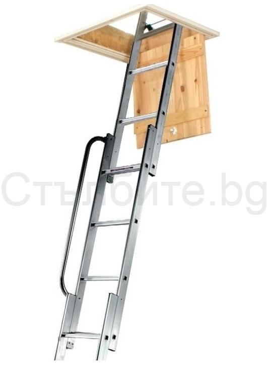 Стълба за таван тип изтегляща се с три рамена и парапет Easiway