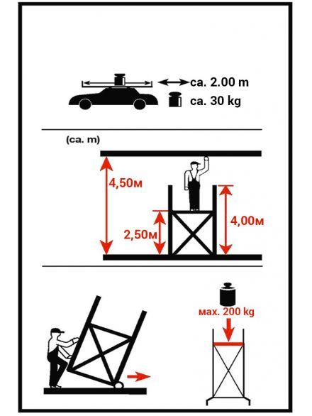 Алуминиево скеле 4.5 м. работна височина- технически характеристики