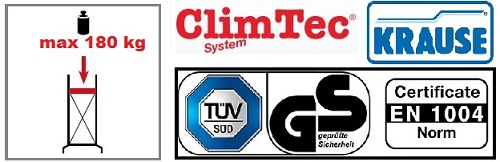 Сертификати за алуминиево скеле ClimTec 7 м. работна височина KRAUSE