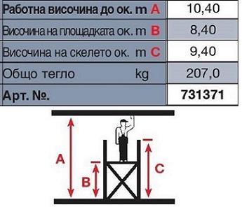Техническа информация скеле Stabilo 10 m. работна височина Krause