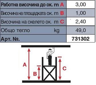 Техническа информация скеле Stabilo 3m. работна височина Krause