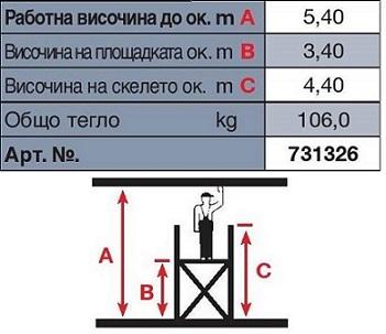 Техническа информация скеле Stabilo 5.40 m. работна височина Krause