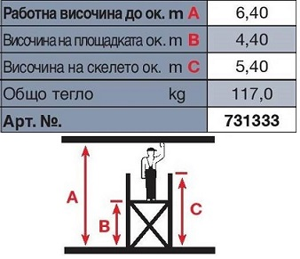 Техническа информация скеле Stabilo 6.40 m. работна височина Krause