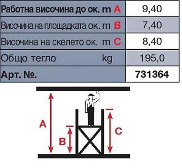 Техническа информация скеле Stabilo 9.40 m. работна височина Krause