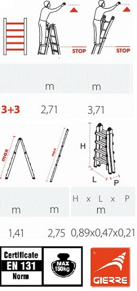 Телескопична стълба 3+3 Gierre технически характеристики