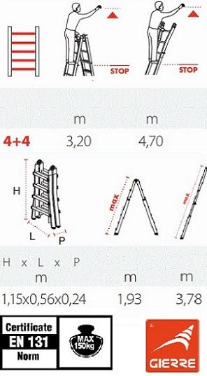 Телескопична стълба 4+4 Gierre технически характеристики